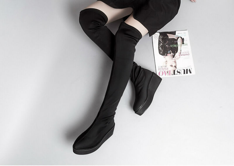 Women Black Stretchy Suede Creepers Flat Platform Over The Knee Thigh