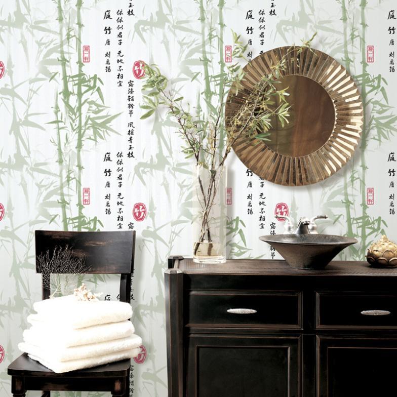 High quality bamboo wallpaper darkkhaki green non woven for High quality wallpaper for home