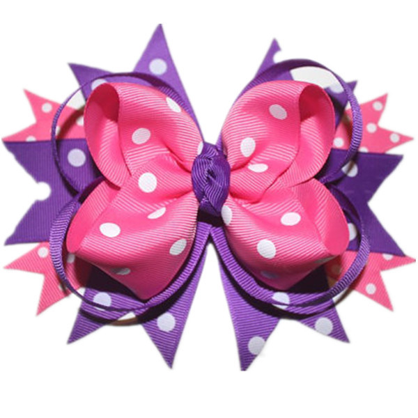 Big Stacked Boutique Bows With 4.5cm Clip,Purple And Pink Polka Dot Toddler Hair Bows,Grosgrain Ribbon Bows, Hair Accessories(China (Mainland))