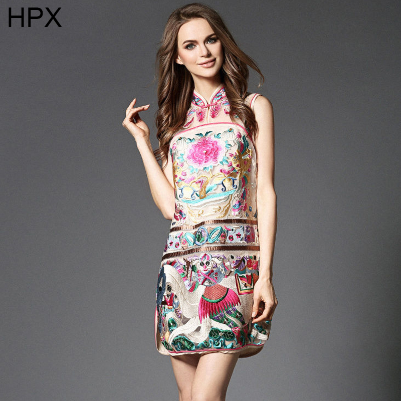 Women Organza Floral Embroidery Sleeveless Chinese style Qipao Bodycon Fashion Dress 2016 Spring Summer New Desigual VestidosОдежда и ак�е��уары<br><br><br>Aliexpress