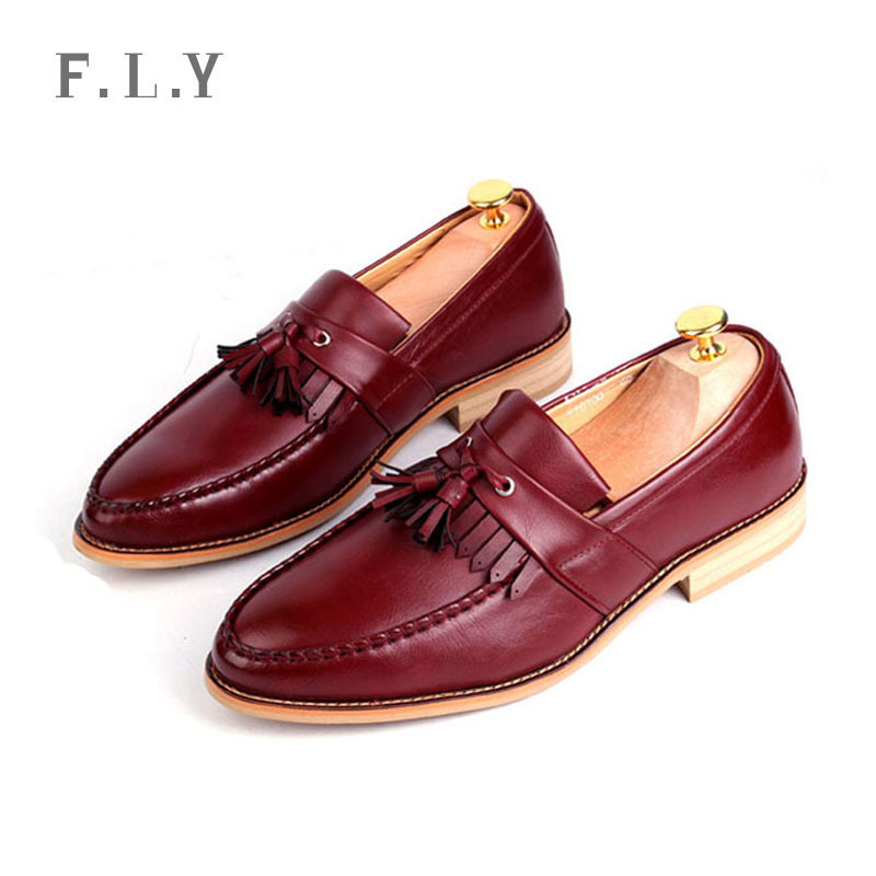 Scarpe uomo 2015 new fashion Brogue men casual leather shoes Tassel slip-on loafers Nightclubs lazy zapatos Plus size PY0107 - NO.1 store