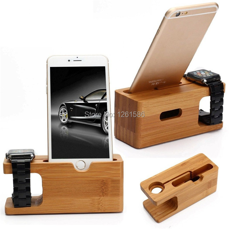 [Charging Dock] Dual Natural Bamboo Wood Charge Holder Station Cradle For Apple Watch iWatch 42mm38mm Samsung Galaxy and iPhone