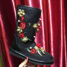 2016 Brand Design Embroidery Flowers Shoes Woman Casual Flats Warm Snow Boots High Quality Winter Boots Slip-on Women Boots 39(China (Mainland))
