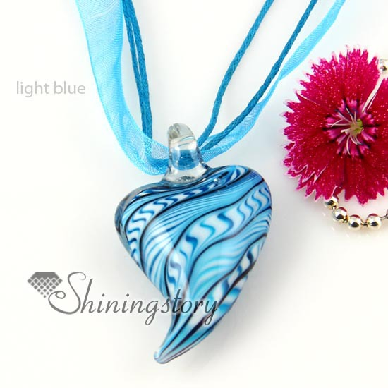 Heart lines lampwork murano glass necklace pendant jewelry colored cheap fashion jewellery handmade - Shiningstory store