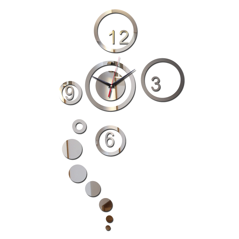 Promotion 2017 vintage wall clock hot mirror art clocks 3d home decoration modern design watch stickers novelty - DIY Time Life store