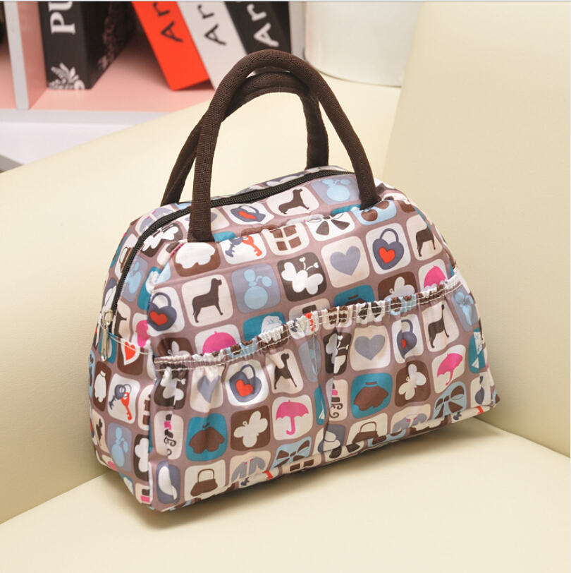 New Fashion Cartoon Lady Women Handbags lunch box bag Character Animal prints Candy color bags Polyester 21 color(China (Mainland))