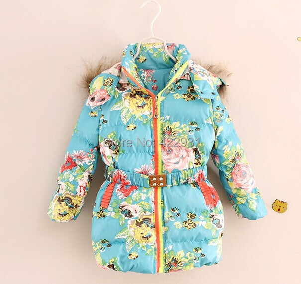 High quality 2014 winter children down coat brand girls floral parkas coat,outerwear&coat,designer kids thick cotton coat, 2-10Y(China (Mainland))