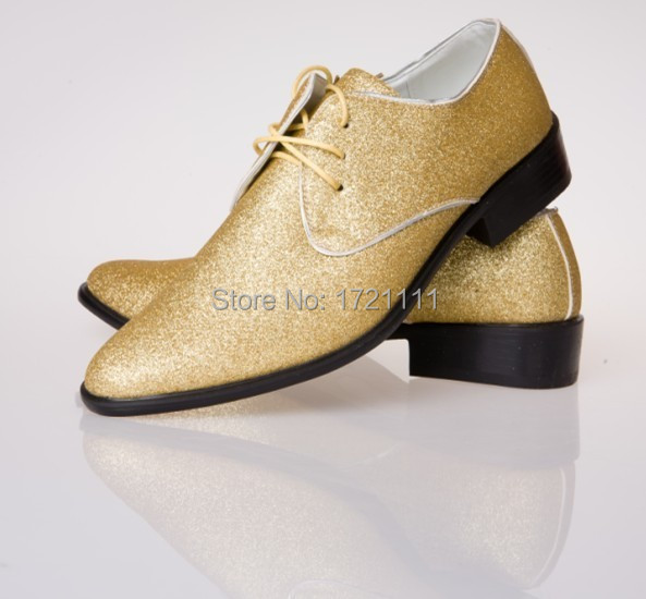 Low price latest gold men 39 s loafers wedding shoes party for Gold dress shoes for wedding