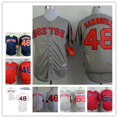 Hot Selling Men's #48 Pablo Sandoval,56 Joe Kelly blue,red,gray,white jerseys stitched,free shipping Boston Red Sox cheap jersey(China (Mainland))