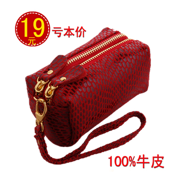2013 cowhide double zipper coin purse small mobile phone bag coin case seeds genuine leather wallet