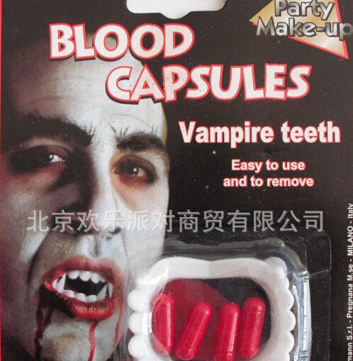 10pc/lot wholesale quirky Halloween props artificial teeth blood funny party toys ghost teeth(China (Mainland))