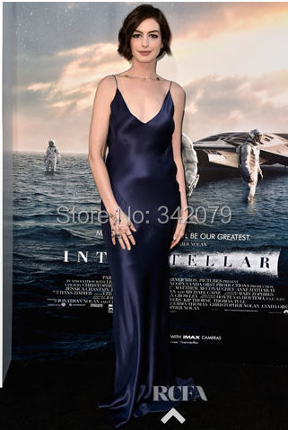 ph1037 Anne Hathaway a deep V-neck V-back fluid midnight-blue satin bias-cut gown Evening Pageant Dress(China (Mainland))