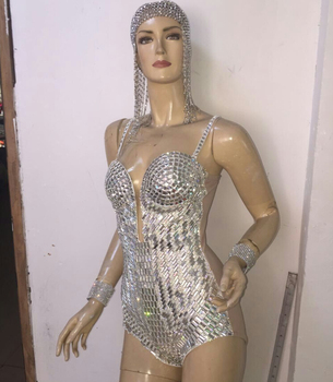Sequins Rhinestone One-Piece Bodysuit Women Sexy Silver Female Singer DJ DS Dance Stage Costume Outfit Show Clothing Dress Wear