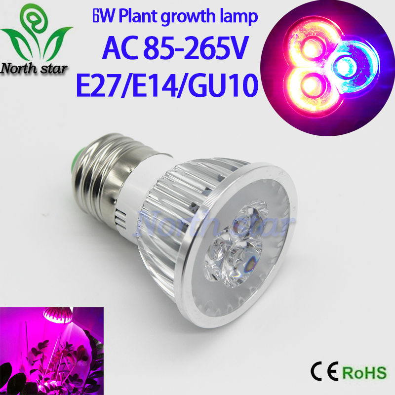 2016 New Cree 6W E27 E14 GU10 Full spectrum LED Grow Lights 2 Red + 1 Blue Lamp for Flower Plant Hydroponics Light AC 85-265V(China (Mainland))