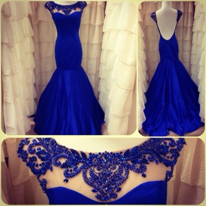 Beading Cap Sleeves Long Mermaid Prom Dresses Royal Blue Evening Party Gowns Open Back 2015 - Europe Maria International Wedding Dress store