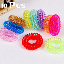 10PCS Fashion Casual Girl Women Hair Telephone Wire Rubber Band Ties Hair Bands Plastic Hair Rollers Rope Ponytail Holder