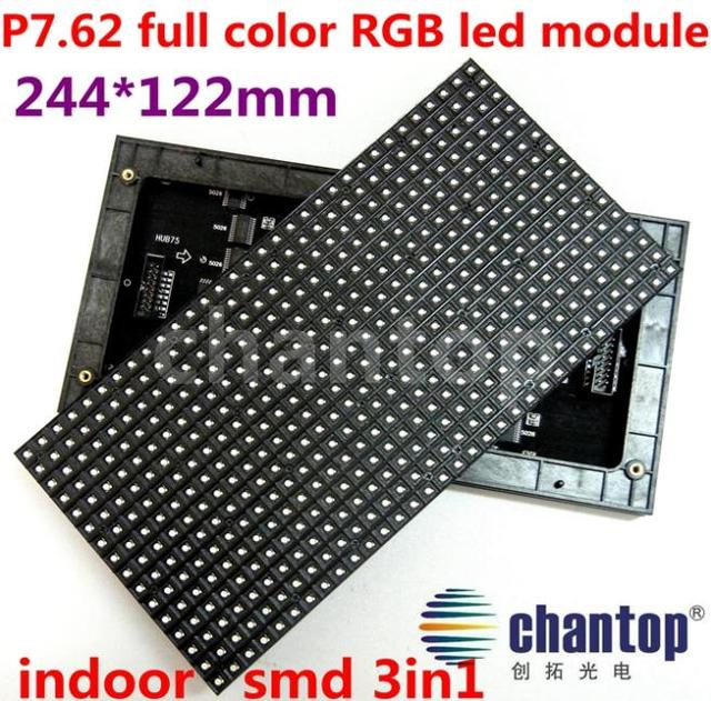 indoor P7.62 full color SMD 3in1 RGB led display module 244*122mm 32*16pixels 1/8 Scan P7.62 LED Video Display Sign