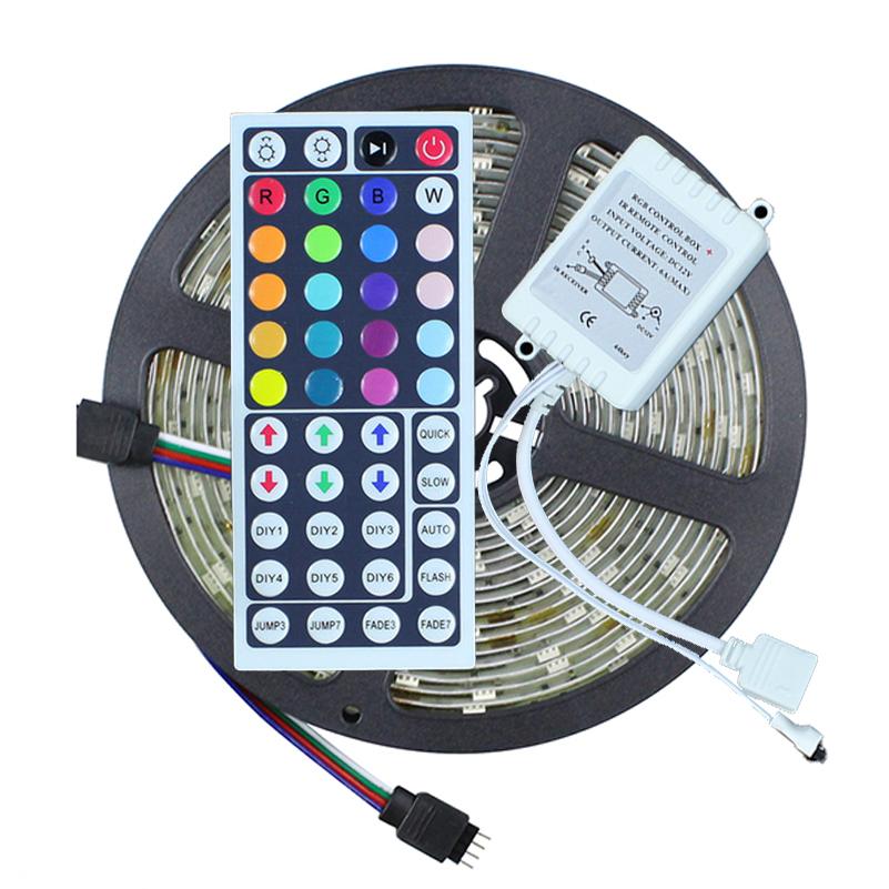 Waterproof LED Strip Light RGB 5050 5M 150LEDS + 44 Key IR Remote Controller RGB LED Diode Tape Ribbon Light Outdoor Lighting(China (Mainland))