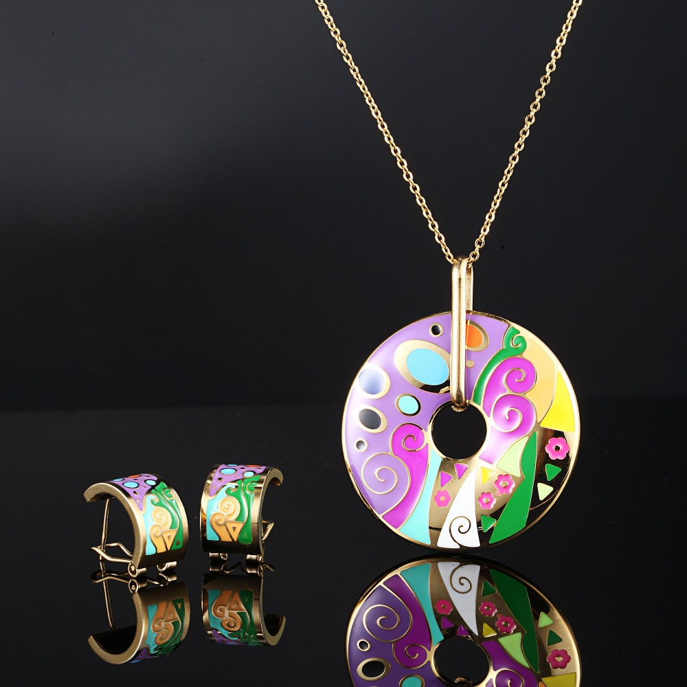 Stainless Steel Woman Vintage Jewelry Sets Gold Plated Elegant Colorful Flower Gold Plated Enamel Jewelry Set(Necklace, Earring)