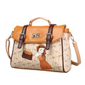 Lovely Cartoon Pattern Fashion Handbag Flap Twist Lock Belt Bag Pretty Girl Designer Sweet Style Women
