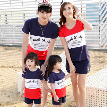 2016 Hot Matching Mother Daughter Father Son Clothing Set Family Look T-Shirt And Shorts Set Plus Size XXXL T-shirt And Shorts