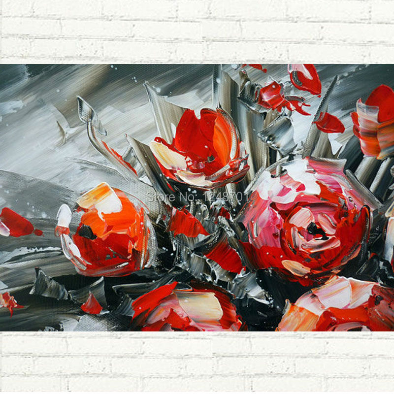 Buy Vase of Roses Palette Knife Painting - Hand Painted Abstract Flower Oil Painting On Canvas Modern Wall Decoration cheap