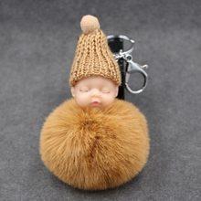 Fofo Mulheres Rex Rabbit Fur Pompom Bebê Dormindo Corrente Chave Pele De coelho Pompom Boneca Chaveiro Chaveiro Carro de Brinquedo Presente de Ano Novo(China)