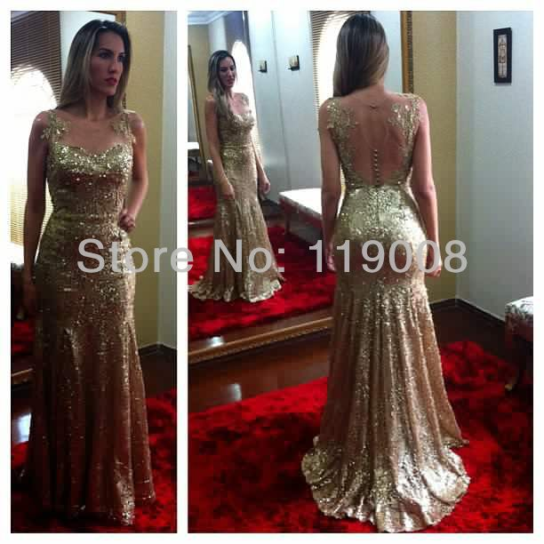 Hot Selling 2014 Stunning Mermaid Prom Party Gowns Formal Long Dress Gold Sequin Evening Floor Length - Anniebaby Wedding Factory store
