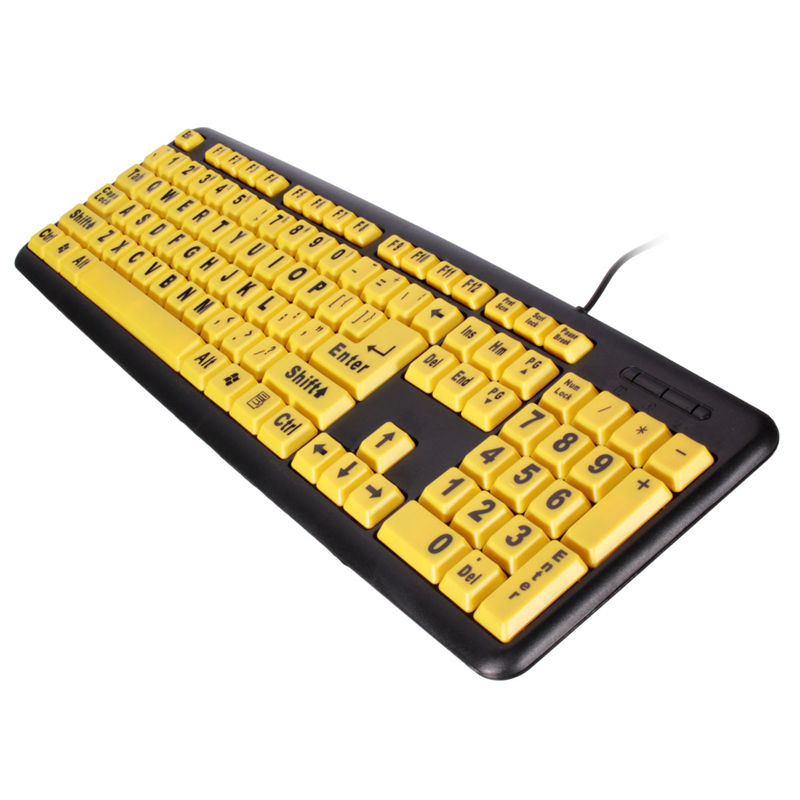 High Contrast Yellow Keys Black Letter ABS Professional Large Print Elderly USB PC Computer Game Gaming Keyboard For Old People(China (Mainland))