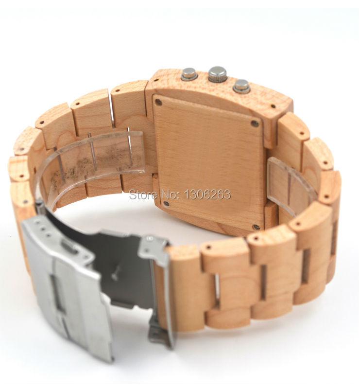Горячие деревянные часы для мужчин аналоговый цифровой двойной движение привело деревянные часы дизайнер дерева часы для мужчин
