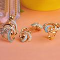 Aquamarine Enamel Pendant Earing Ring Jewelry Sets Fashion Women Gold Plated Indian Jewelry Fine Costume Jewelry
