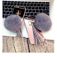 Mirror Phone case For Samsung S6 S6 Edge S7 S7 Edge Luxury Soft Plush Gray Real Rabbit fur pompom Cover Fluffy Tassel back case()