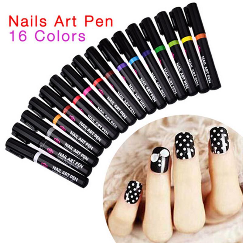 16 Colors Nail Art Pens Manicure Tools 3D Nail Art Decorations UV ...