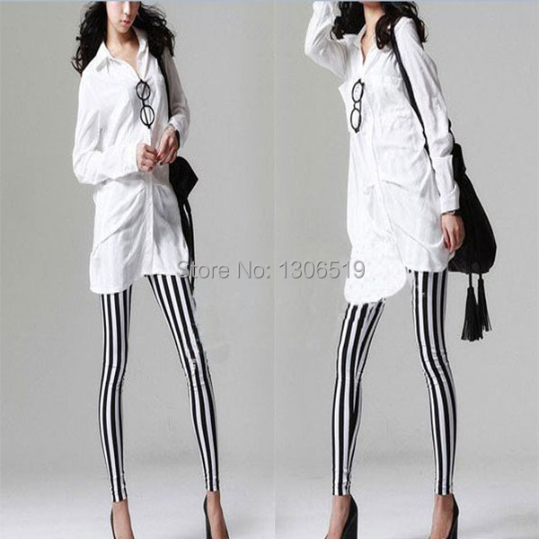 FreeShippingStylish Women's Cool Vertical Striped Stretchy Skinny Leggings Pants NewDropShipping