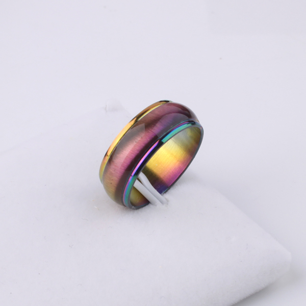 Gradient rainbow Color rings 316L Stainless Steel men women jewelry wholesale lotsTING JEWELRY STORE(China (Mainland))
