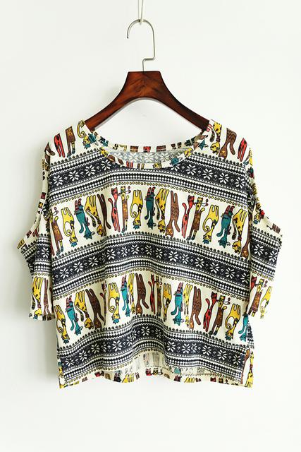 2016 женщин т - летом напечатаны полурукав ти off-плечи о-образным шею печатных топы M-XXL бесплатная доставка