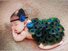 Paon Style nouveau - né bébé accessoires de photographie Animal mignon conception de plume accessoires Photo avec bandeau nouvelle vente chaude Costume Outfit(China (Mainland))