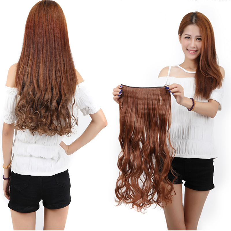 """Blonde Auburn 17"""" 140g Long Curly New Brand 3/4 Full head Synthetic hair Clip in Hair Extension Free shipping(China (Mainland))"""
