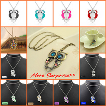 2016 Hot Sale Crystal Owl Pendant Necklace Vintage Gold Long Chain Rhinestone Animal Necklace Women Costume