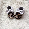 Leopard Printing Baby moccasins Genuine Infant Moccs White Baby Shoe