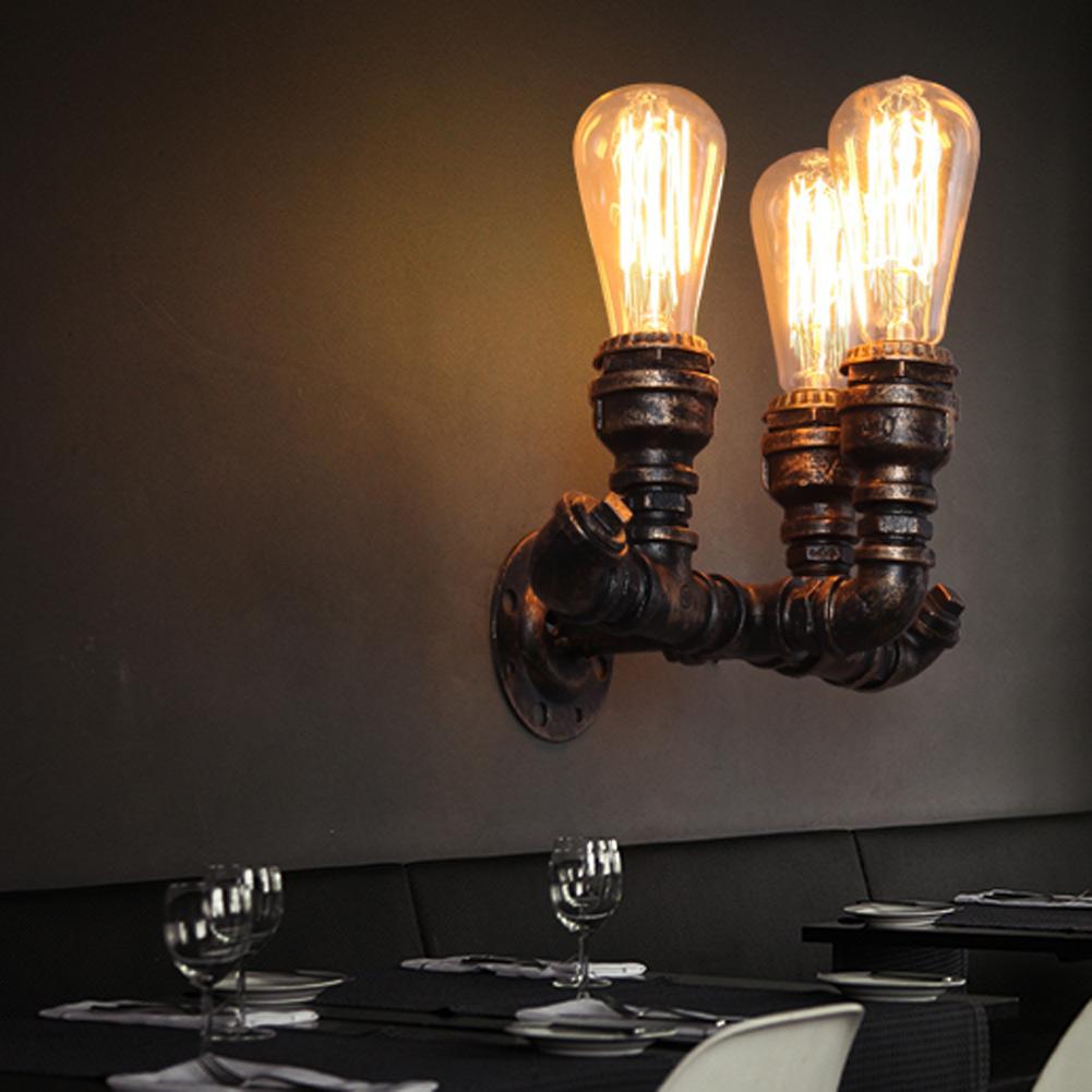 3 heads bulb industrial loft iron rust water pipe retro wall