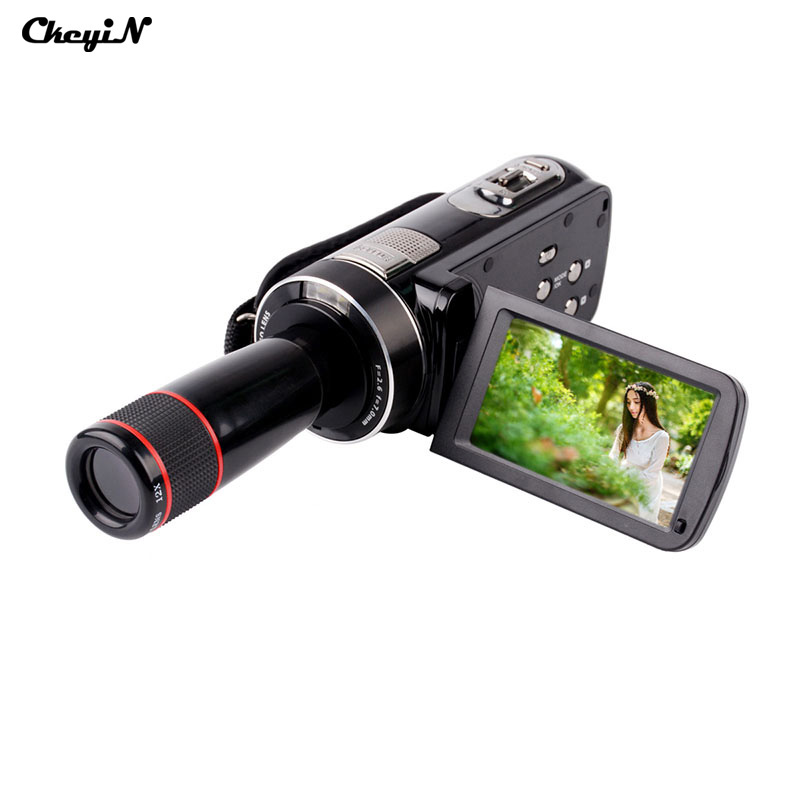 Full HD 1080P Video Camcorder 24 MP 16x Digital Zoom LCD Touch Screen with Telephoto Lens Mini Camera DV With Two Batteries-5556(China (Mainland))