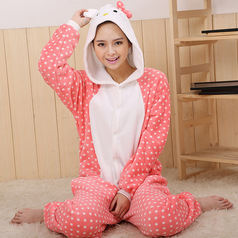 Wholesale Unicorn Stitch Panda Unisex Flannel Hoodie Pajamas Costume Cosplay Animal Onesies Sleepwear For Men Women Adults Child(China (Mainland))