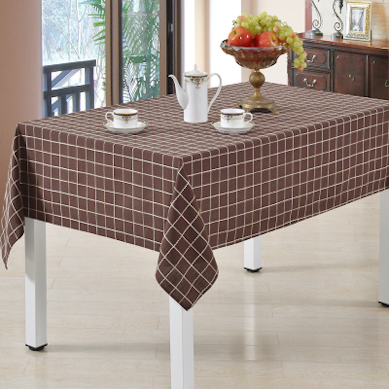 90 - 275cm x 90 x 275cm Plaid Tablecloth Square Rectangular Round Table Cloth Brown Dia.275 260 240 220 200 180 160 135 x 180(China (Mainland))