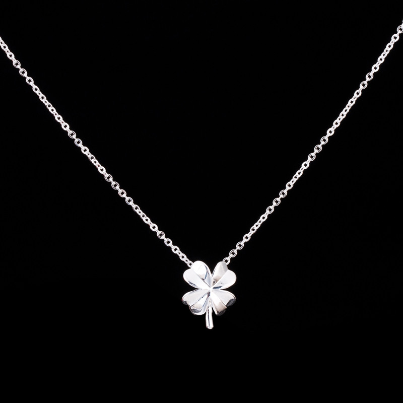 1-2016 Silver Gold Plated Collier Flower Choker Necklace Women Fine Jewelry Copper Lucky Clover Charm - Show store