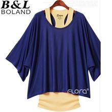 S-XXL Free shipping Plus size women's Bat sleeve loose big yards fashion short-sleeved T-shirt +vest # N019