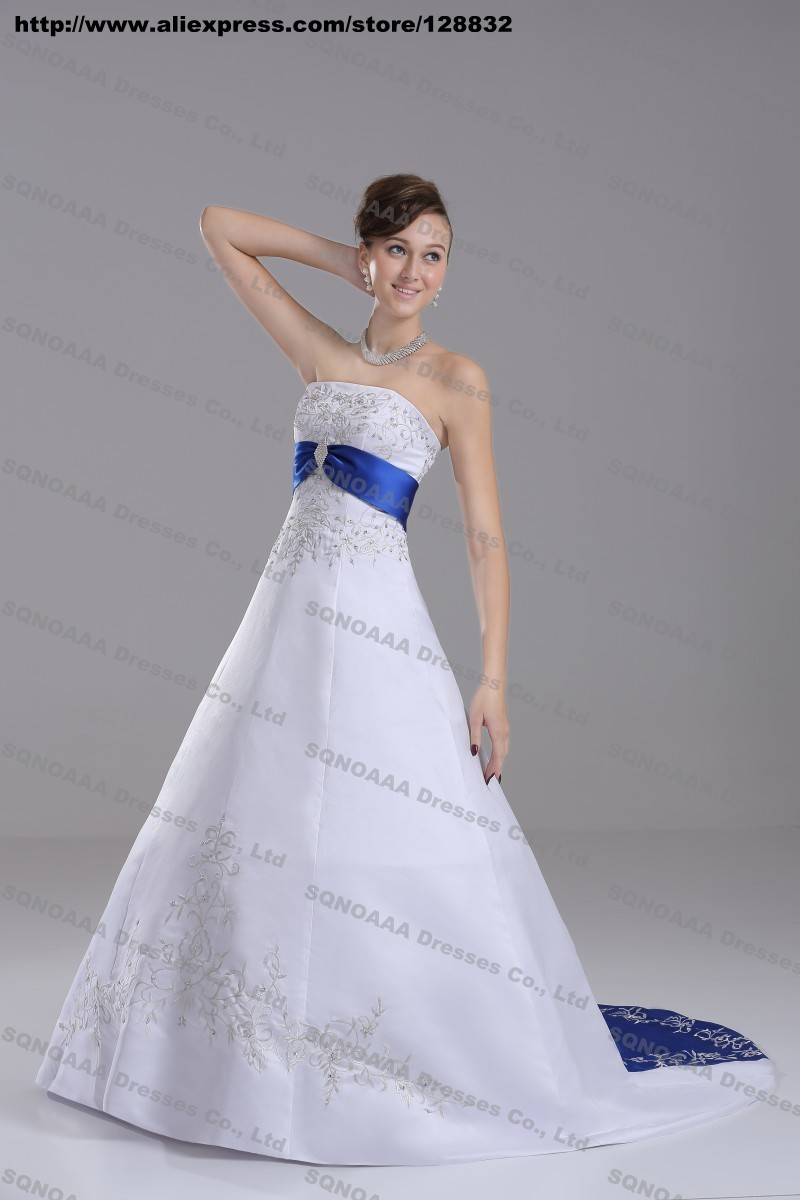 Discount silver embroidery white royal blue stain a line for Blue silver wedding dress