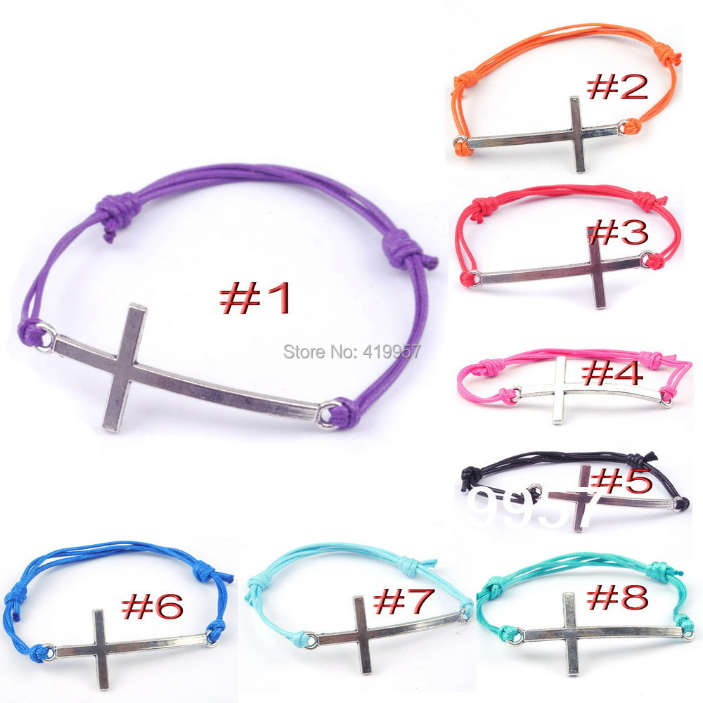N010--100% Hand weave Hot Fashion Wax rope silver cross Bracelets adjustable Bangles Women Men - Sister7983(Min Order $5 store)