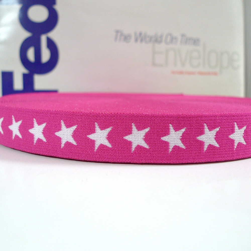 "27 Yards 3/4"" 20mm #3 Hot Pink Color Star Pattern Underwear Elastic(China (Mainland))"