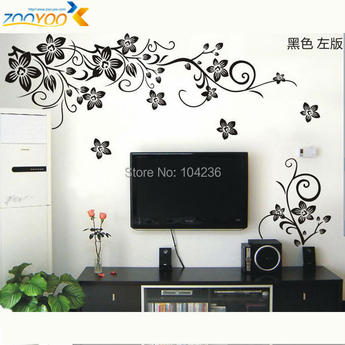 hot sellings 130*80cm classical black flower wall art zooyoo027s living room floral wall stickers home decorations wall decals(China (Mainland))